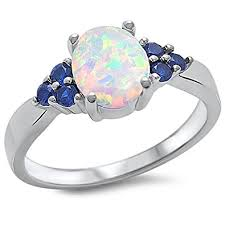 saphire rings lab created white opal blue sapphire 925 sterling