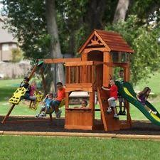 Playground Sets For Backyards by Cedar Wooden Swing Set Backyard Discovery Atlantis Playground Play