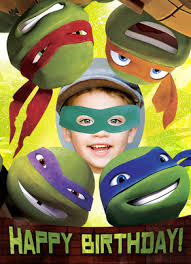 ninja turtle photo head happy birthday card cardstore