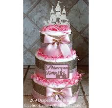 personalized glitter gold u0026 pink princess castle diaper cake for