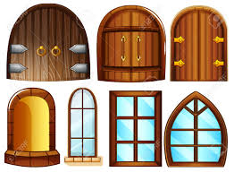 Designer Door by Illustration Of Different Designs Of Doors And Windows Royalty