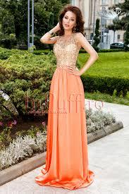 atmosphere rochii rochie lunga dantela aurie si matase portocalie rochie lunga de