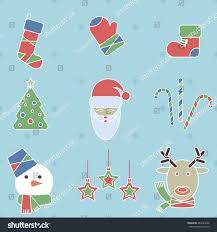 set christmas new year icons modern stock vector 483423298