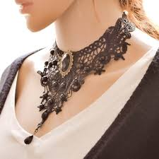 vintage lace collar necklace images Big black lace fashion gothic tattoo beaded pendent collar jpg