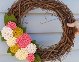 Grapevine Floral Design Home Decor The Felt Flower Wreath Etsy