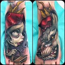beautiful colored little wolf and little red riding hood tattoos