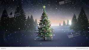 christmas lights that look like snow falling snow falling on christmas tree in snowy landscape stock animation