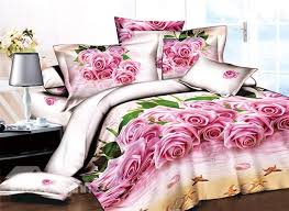 Pink Rose Duvet Cover Set 3d Pink Roses On The Beach Printed Cotton 4 Piece Bedding Sets