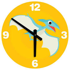 large wall clock for kids dinosaur illustration traditional