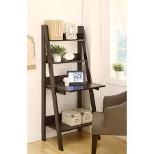 black solid wood corner ladder shelf integrated with small