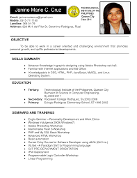 resume sample for ojt hotel and restaurant management awesome