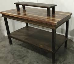 rustic wood retail store product display fixtures shelving rustic wood retail display table riser butcher block retail dark walnut 1