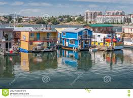 Victoria Houses by Houseboats Floating In Victoria Harbor Editorial Photography