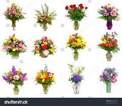 Flower Arrangements In Vases Collage Various Colorful Flower Arrangements Bouquets Stock Photo