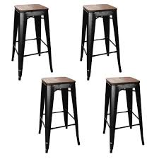 Metal Bar Stools With Wood Seat Amerihome Loft Style 30 In Stackable Bar Stool In Black With Dark