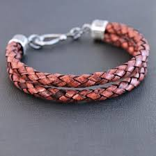 braided bracelet with chain images Men 39 s double braid red leather bracelet brick red sterling jpg