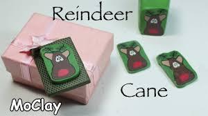 diy christmas crafts reindeer polymer clay cane tutorial youtube