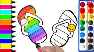 how to draw rainbow slipper coloring flip flop learning
