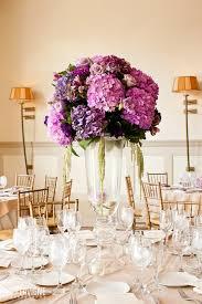 purple centerpieces tela s bold and bright purple low centerpieces of hydrangea