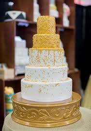 Gold Sequence 5 Tier Modern Wedding Cake Croissants Myrtle Beach