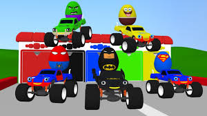 monster trucks kids video 3d superheroes surprise eggs and monster trucks kids video youtube