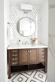 Brown Bathroom Cabinets by Small Hall Bathroom Makeover Brown And White Shiny Chrome
