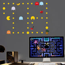 wall decal pacman decals gamer room ideas pac man vinyl pacman wall decals stickers pac man decorative cartoon wallpaper kids party decoration