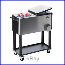 metal ice chest patio coolers on wheels cooler cart shelf wheels