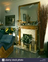 Livingroom Mirrors Gilt Mirror Above Fireplace In Nineties Living Room With