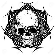 abstract vector illustration black and white skull on