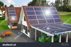 solar wind power house 3d concept stock illustration 444088975
