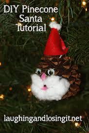 diy pinecone santa ornament