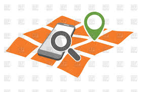 Gps Map Mobile Phone With Magnifying Glass On Geo Gps Map Royalty Free