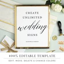 Wedding Signs Template Wedding Sign Template Editable Sign Favor Sign Guestbook Sign