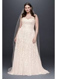plus size blush wedding dresses sweet lace a line plus size wedding dress david s bridal
