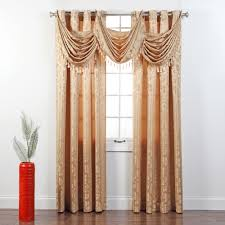 Gray Valance Leah Jacquard Grommet Waterfall Valance With Tassel Walmart Com