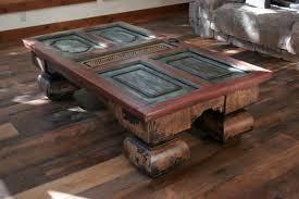 rustic old half door coffee table with its original knob antique