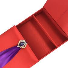 Red Wedding Invitations Luxury Chocolate Silk Invitation Box In Red U0026 Purple Color