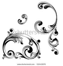 set vintage baroque ornaments corners retro stock vector 532410070