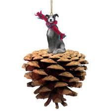 dpp54b con greyhound blue white pinecone pet ornament walmart