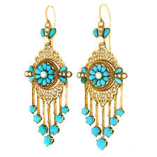 Chandelier Gold Earrings Antique French Turquoise Yellow Gold Chandelier Earrings For Sale