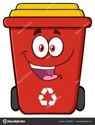 imagenes animadas sobre el reciclaje dibujos animados de bin de reciclaje rojo feliz archivo imágenes