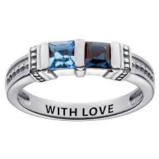 square rings jewelry images Sterling silver square birthstone ring 2 stones 41798 jpg