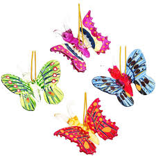 set of 4 spun glass butterfly ornaments bronner s