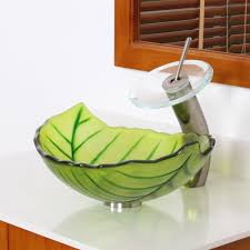 green glass vessel bathroom sinks elite spring leaves design tempered glass bathroom vessel sink