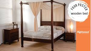 wooden four poster bed rightwood bedroom interior youtube
