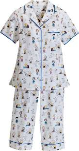 womens cambric cotton pajamas in classic peanuts print