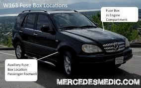 1999 mercedes ml 430 fuse box 1998 2005 mercedes ml location diagram