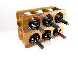 simple acacia horizontal wine rack design comes with stackable