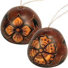 burnt flower gourd ornament from peru fair trade handmade